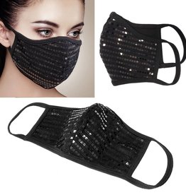 Face Mask- Mesh Sequin Black