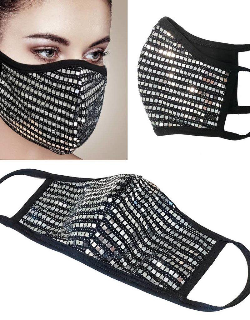 Face Mask- Mesh Sequin Silver