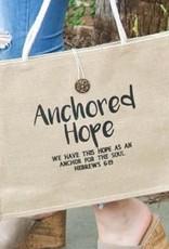 BURLAP JUTE TOTE: ANCHORED HOPE