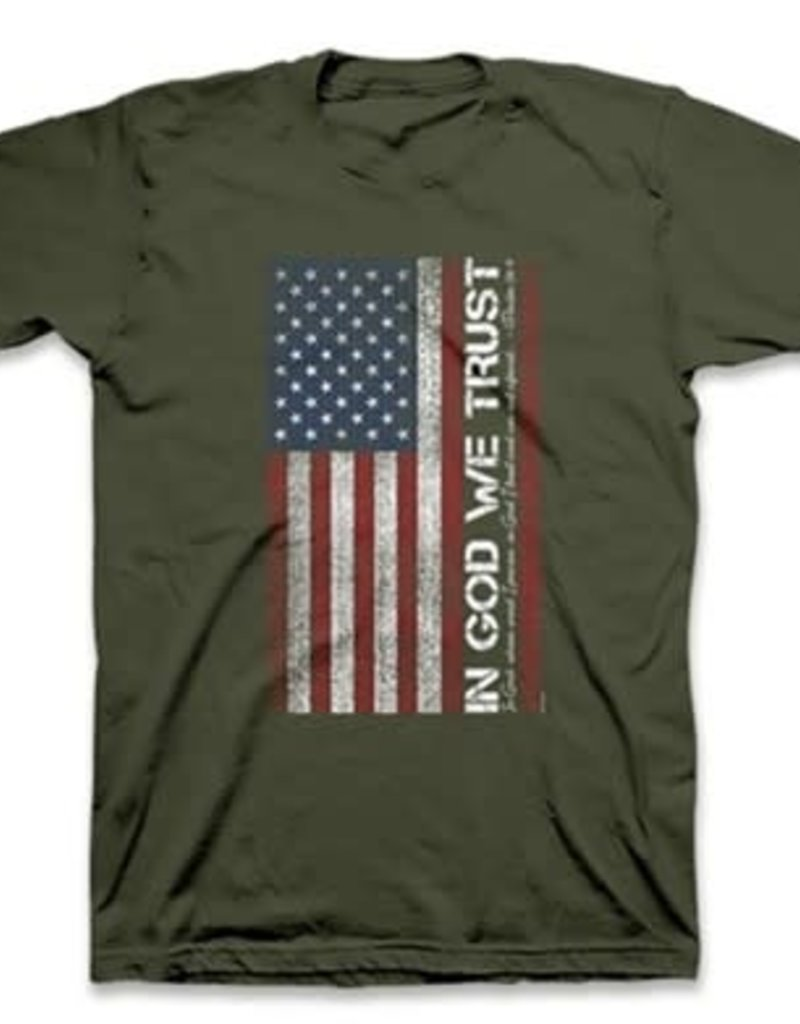 Patriotic- In God We Trust Adult Unisex T Army Green