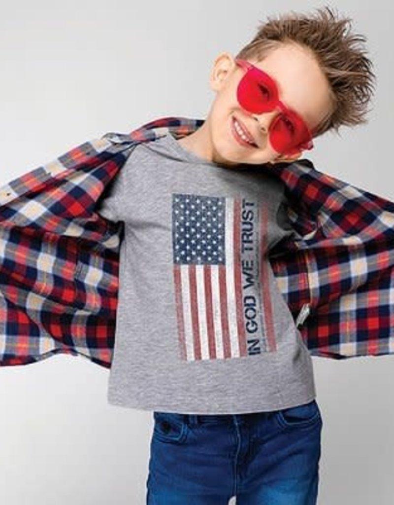 Patriotic- In God We Trust KIDS Unisex T Grey