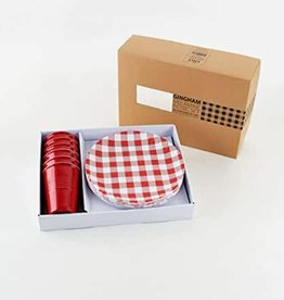 Red Gingham Picnic Set 6 9""