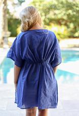 Panama Caftan Cover Up ROYAL BLUE -S/M