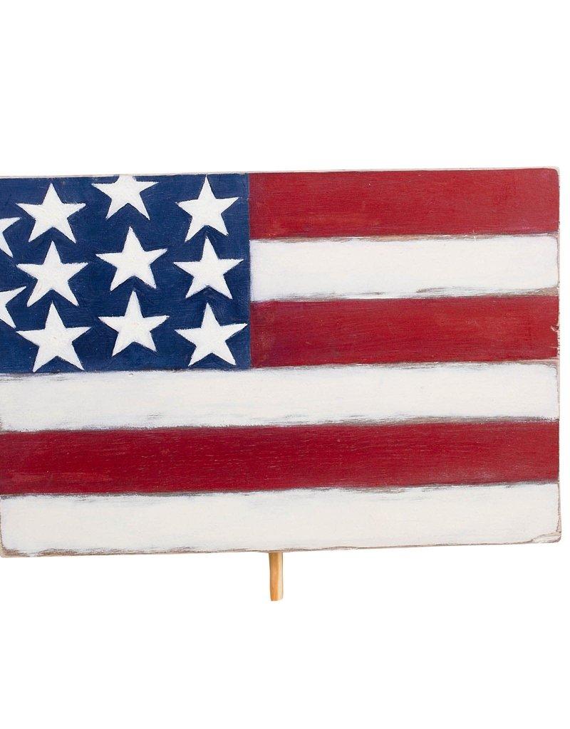 American Flag Wood Topper