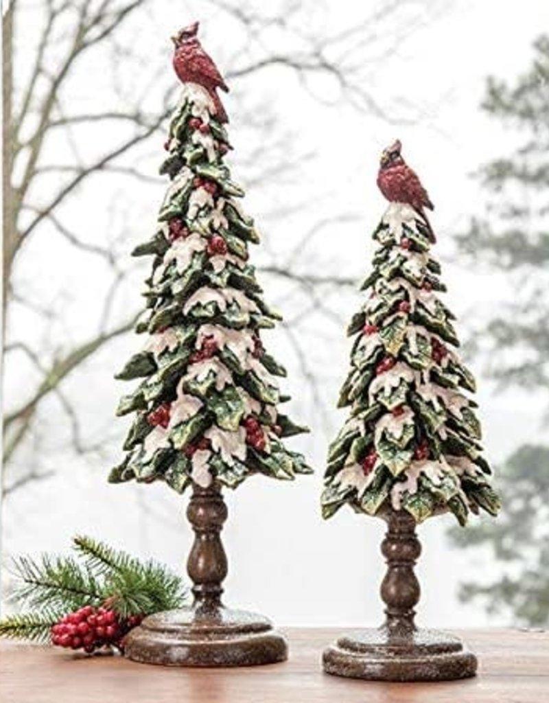 SNOW TREE W/CARDINAL AT TOP ( Small)