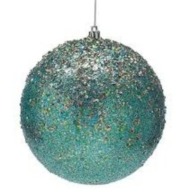 ORNAMENT- PEACOCK BLUE WITH GOLD GLITTER