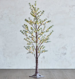 "4"" Snowy Pine LIghted Tree"