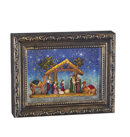 """9.5"""" Nativity LIghted Water Picture Frame"""