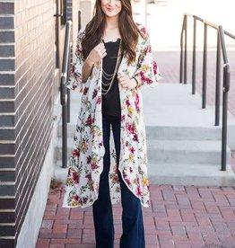 Get Swept Away Floral Kimono, White Xl/2xl