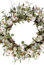 "22"" Eucalyptus and Cotton Wreath"