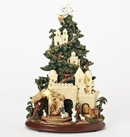 "Musical 13"" Led Nativty Tree w/ Rotating Animals"