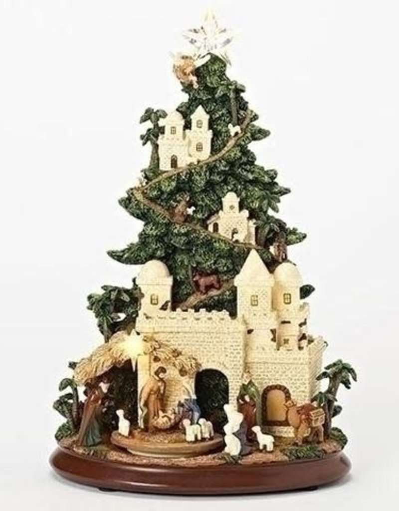"""Musical 13"""" Led Nativty Tree w/ Rotating Animals"""