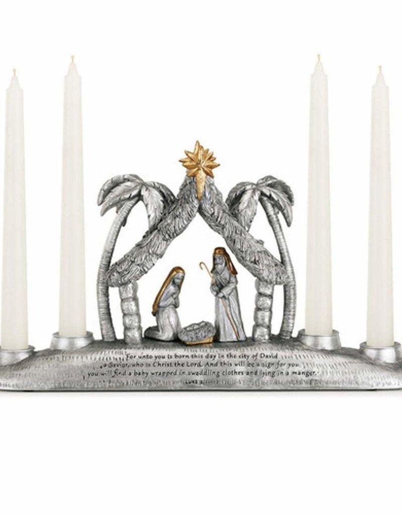 Nativity Taper Candle Holder Centerpiece