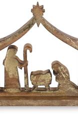 Gold Finish Holy Family Shelf Nativity