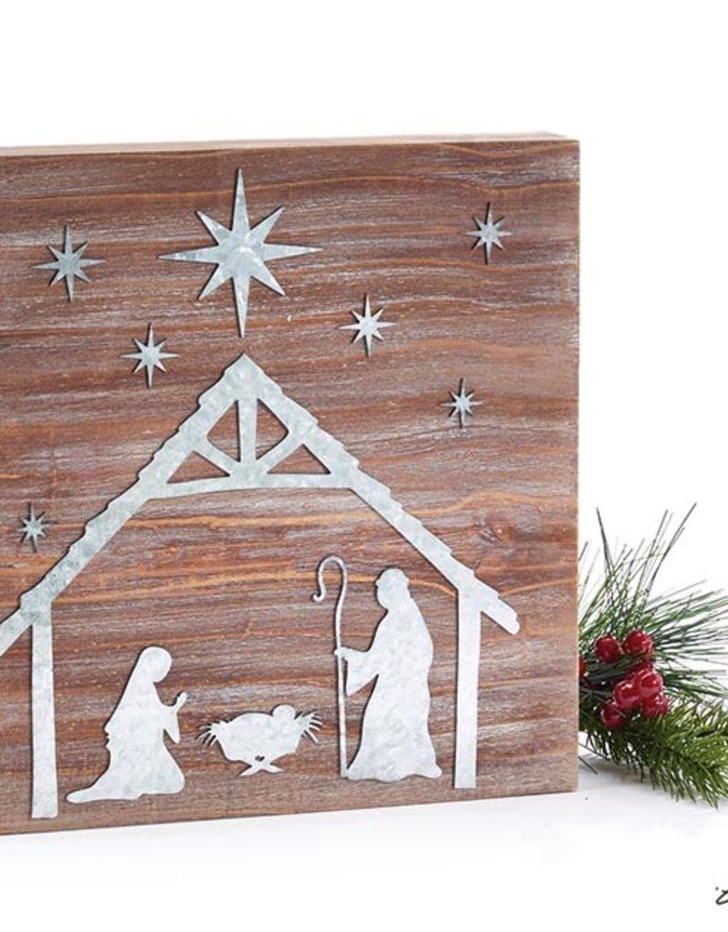 Shelf Sitter Wood Block with Tin