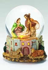 """7"""" LED Musical Holy Family Glitterdome"""