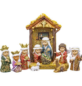 11 pc Jewel Nativity w/ Gold Leaf