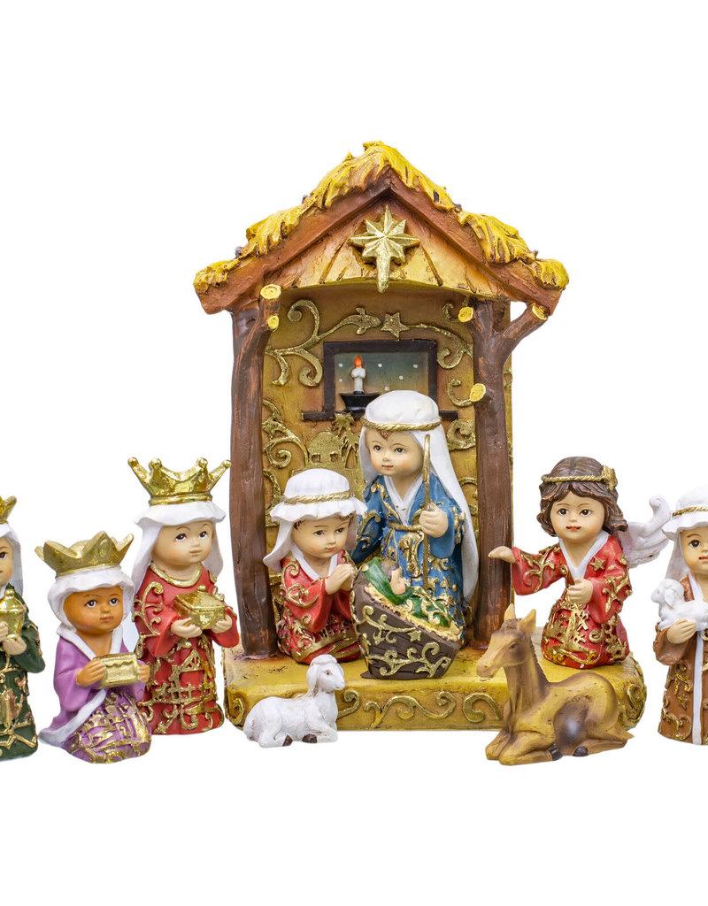 11 pc Jewel Nativity w/ Gold Leaf