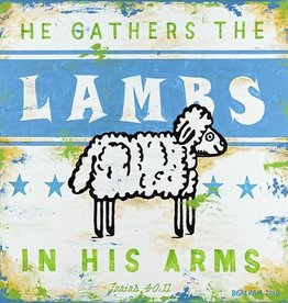 WALL ART GATHER THE LAMBS-BLUE