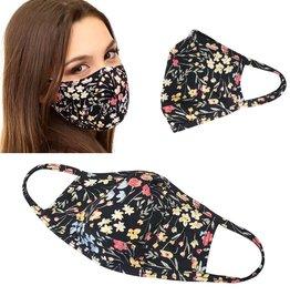 Face Mask- Black w/ Flowers