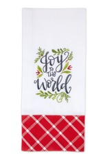 Joy To The World Embroidered Tea Towel
