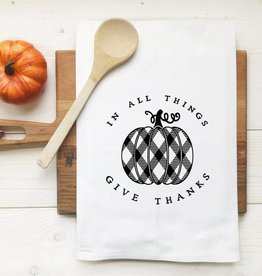 In All Things Give Thanks Plaid Pumpkin Tea Towel