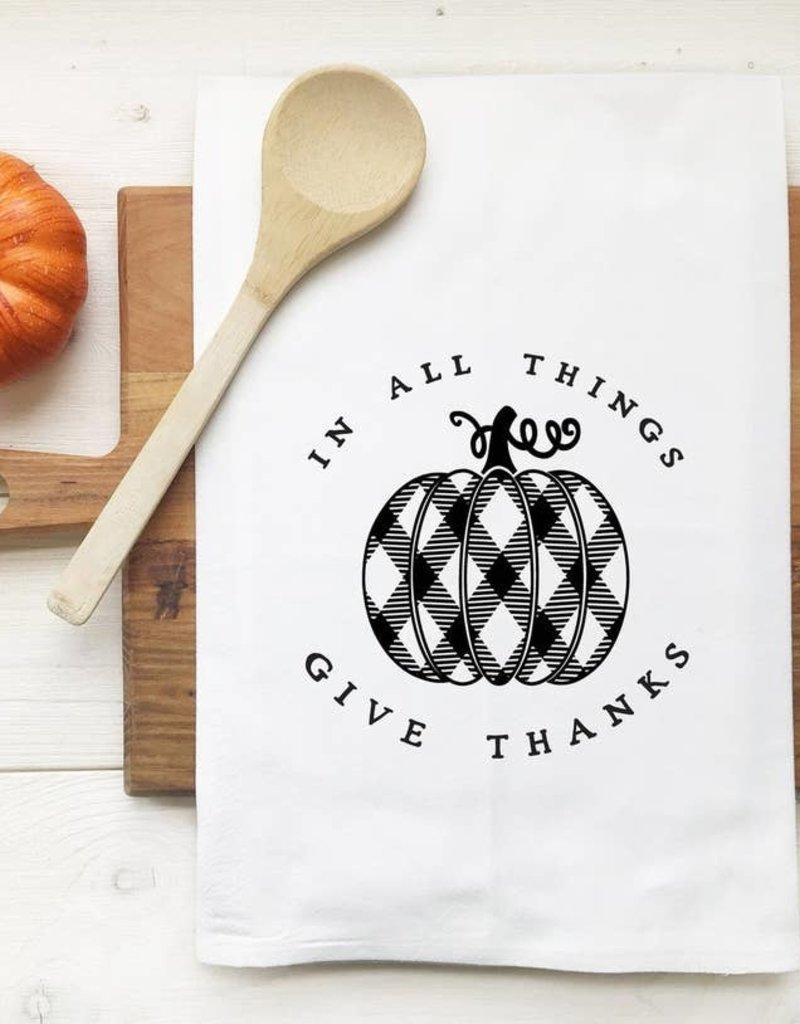 In All Things Give Thanks Plaid Pumpkin Tea Towel
