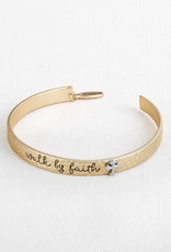 BRACELET GOLD HONOR BAND WALK BY FAITH CROSS