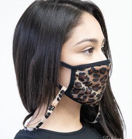Mask Lanyard, Leopard Leather