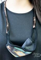 Mask Lanyard, Rose Gold Snakeskin Leather