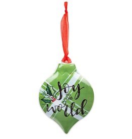 Joy to the World Green Plaid Ornament