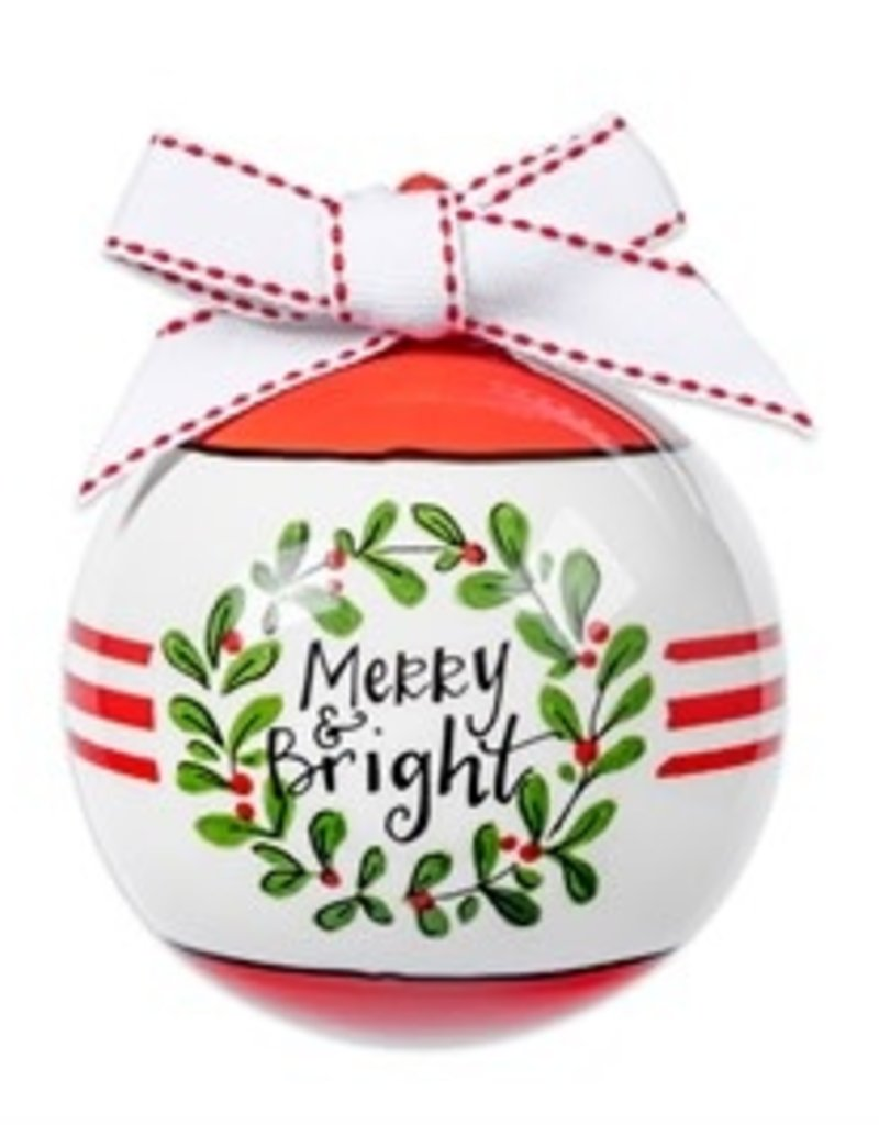Merry & Bright Porcelain Ball Ornament