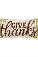 GIVE THANKS HOOKED WOOL PILLOW