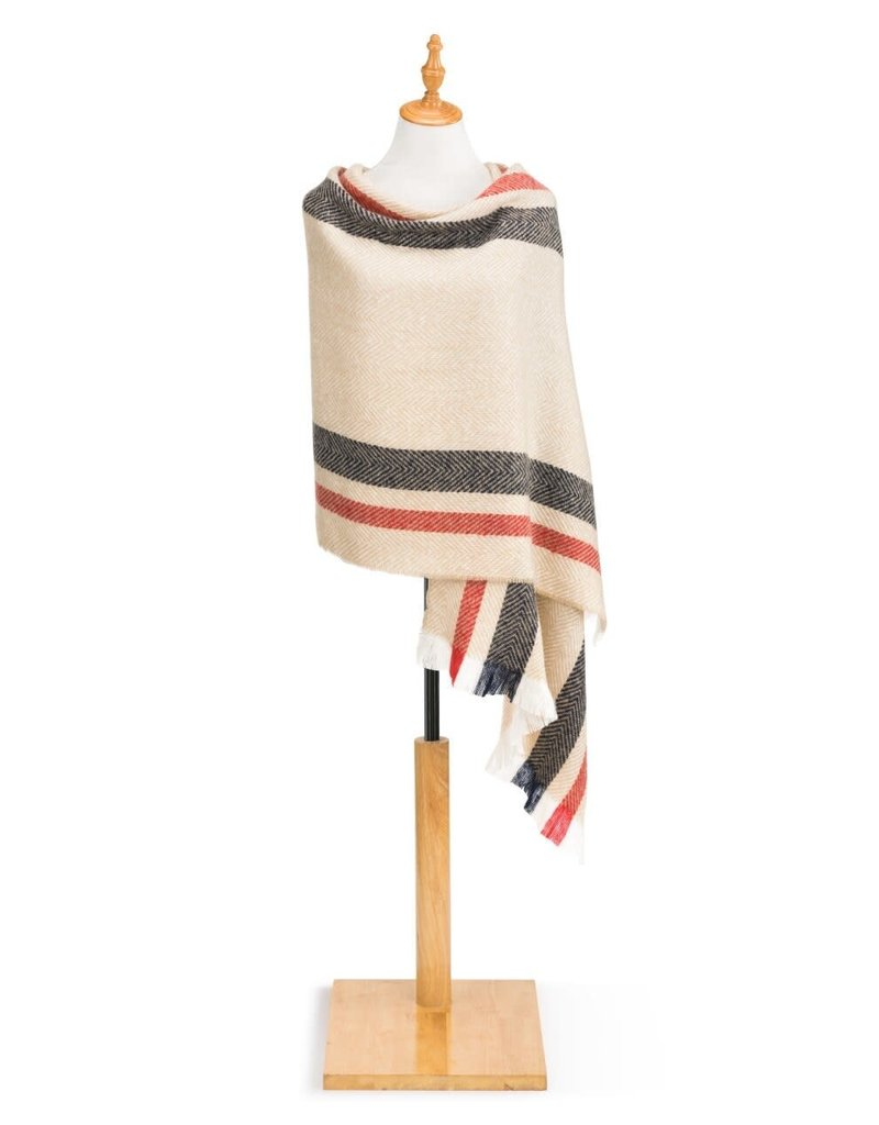 Herringbone Shawl- Tan w/Stripes