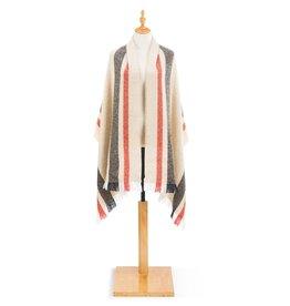 Herringbone Shawl- Tan w/Stripes
