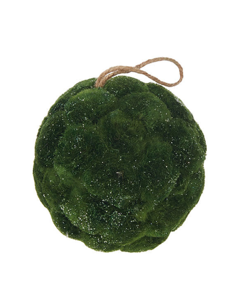 "6"" Iced Moss Ball Ornament"
