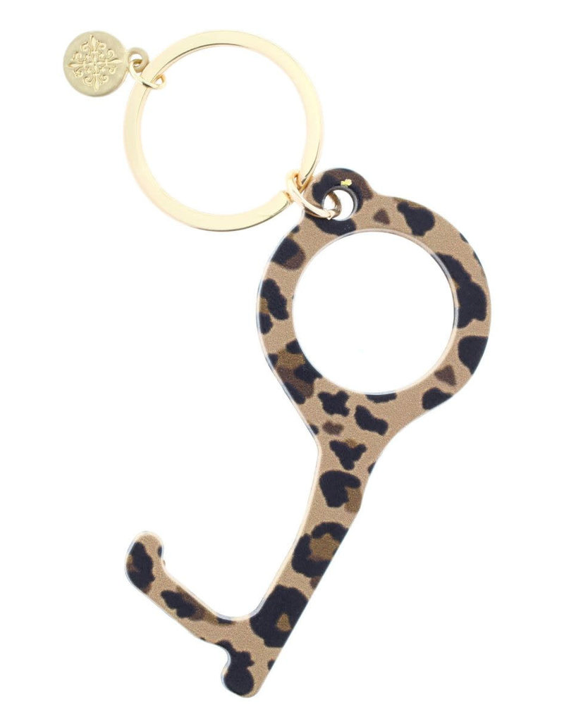 Brown Leopard Touchless Key Keychain