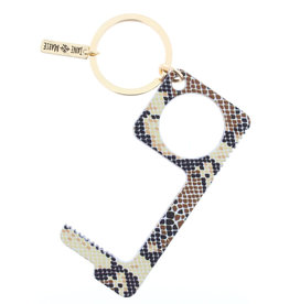 Brown Snakeskin Toucless Key Keychain