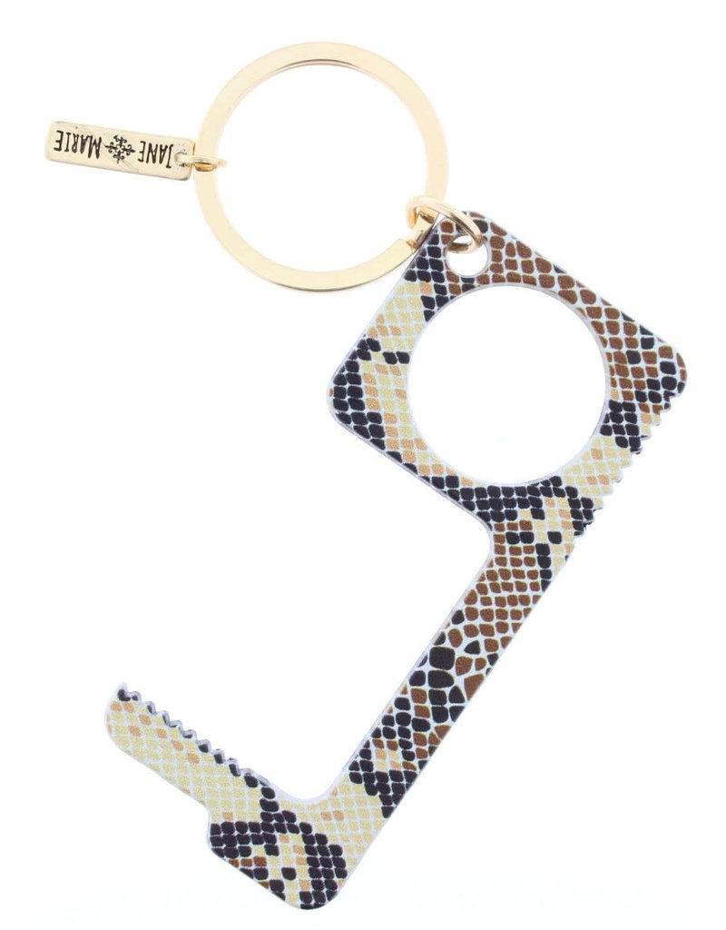 Brown Snakeskin Toucless Key Keychain