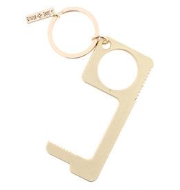 Matte Gold Touchless Key Keychain