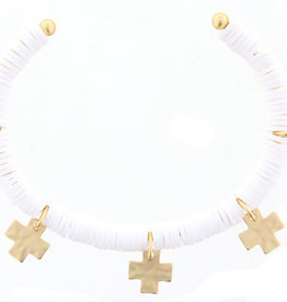 White Cuff  w/ Gold Cross Accents