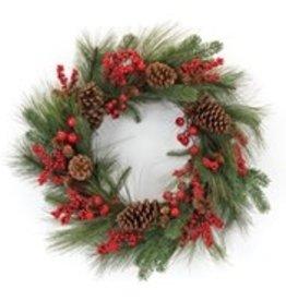 "Pine & Berry Wreath 26""D"