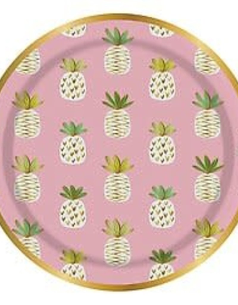 Mini Pineapple Paper Plate Set - 8 count