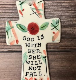 God is With Her Ceramic Cross