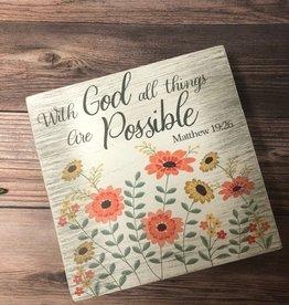 7X7 Wooden Bible Verse Shelf Sitter - With God