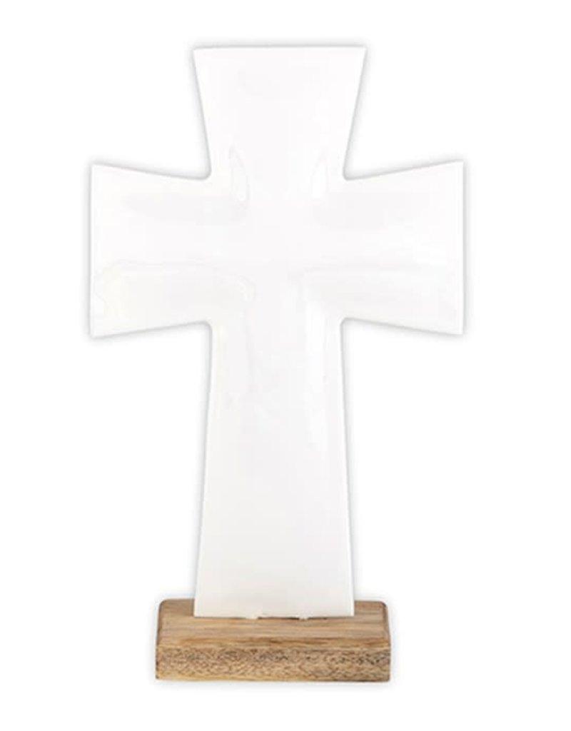 """10"""" Enamel White Cross on Stand"""