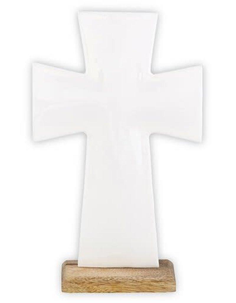 """8"""" Enamel White Cross on Stand"""