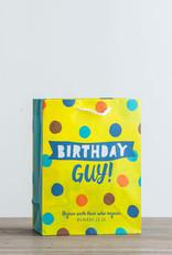 Gift Bag-Value-Birthday Guy!-Blue Polka Dot-Romans 12:15-Medium
