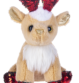 Fun Flip Sequin Reindeer- Red Sparkle