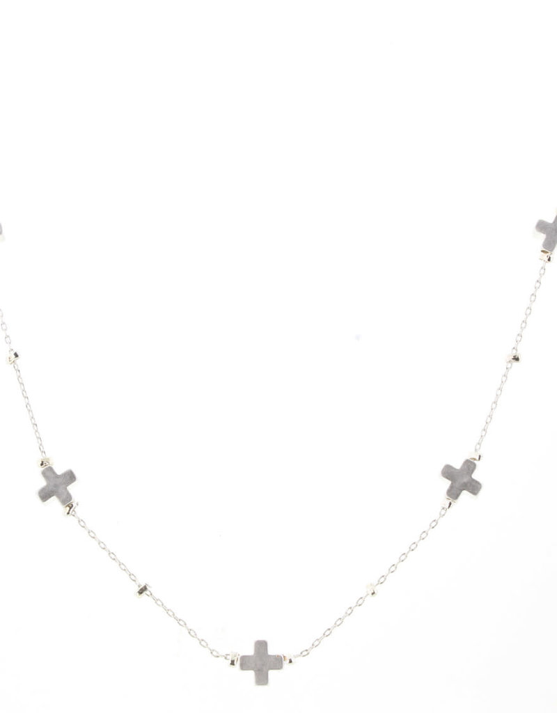 """16"""" Silver Cross Station Necklace"""